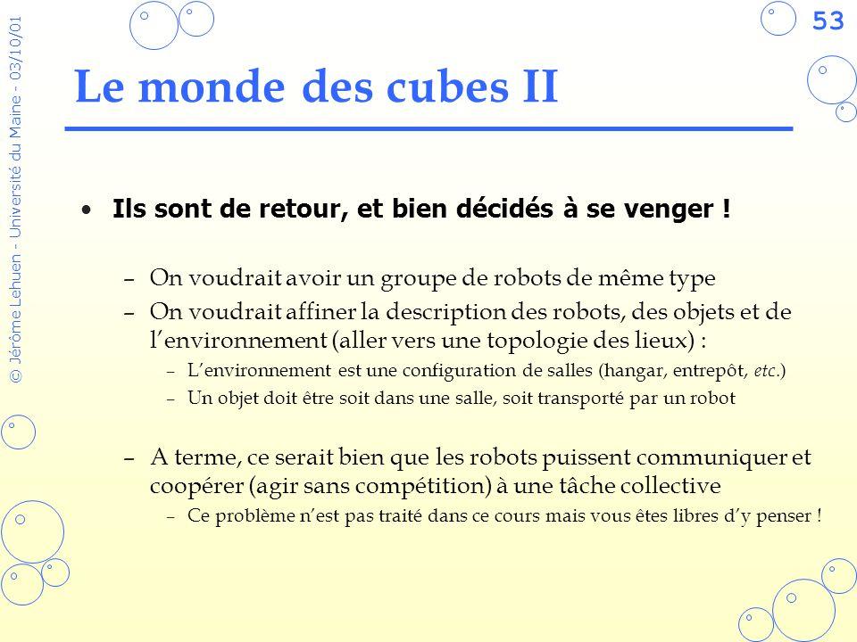 Le monde des cubes II Ils sont de retour, et bien décidés à se venger ! On voudrait avoir un groupe de robots de même type.
