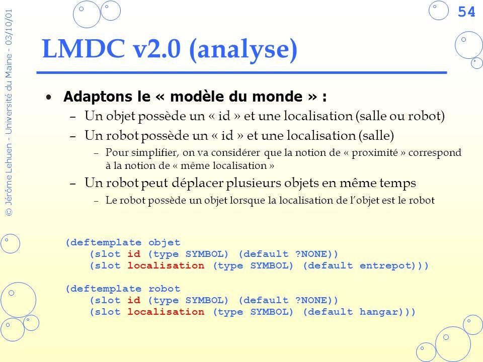 LMDC v2.0 (analyse) Adaptons le « modèle du monde » :