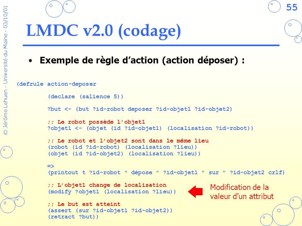 LMDC v2.0 (codage) Exemple de règle d'action (action déposer) :