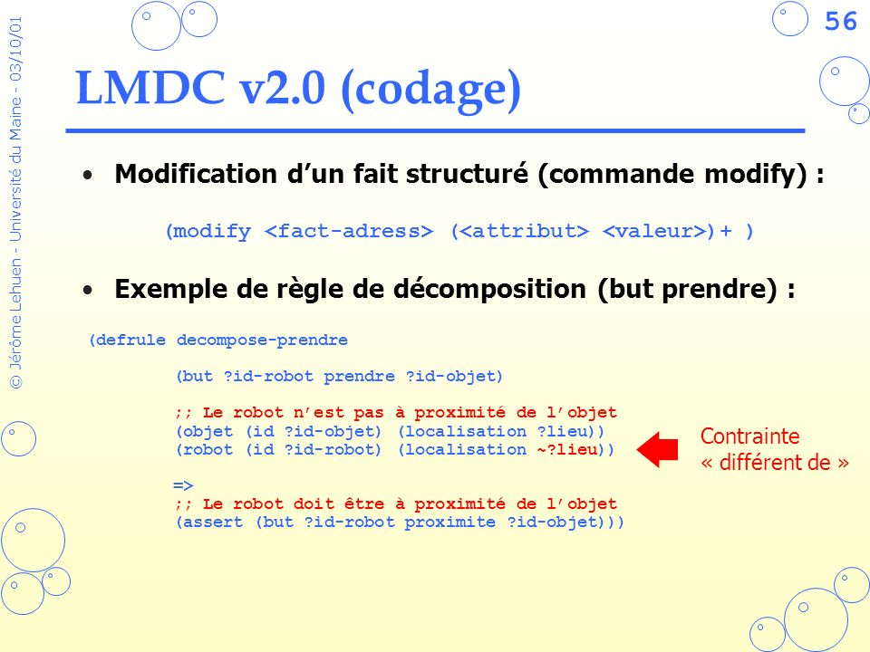 LMDC v2.0 (codage) Modification d'un fait structuré (commande modify) : Exemple de règle de décomposition (but prendre) :