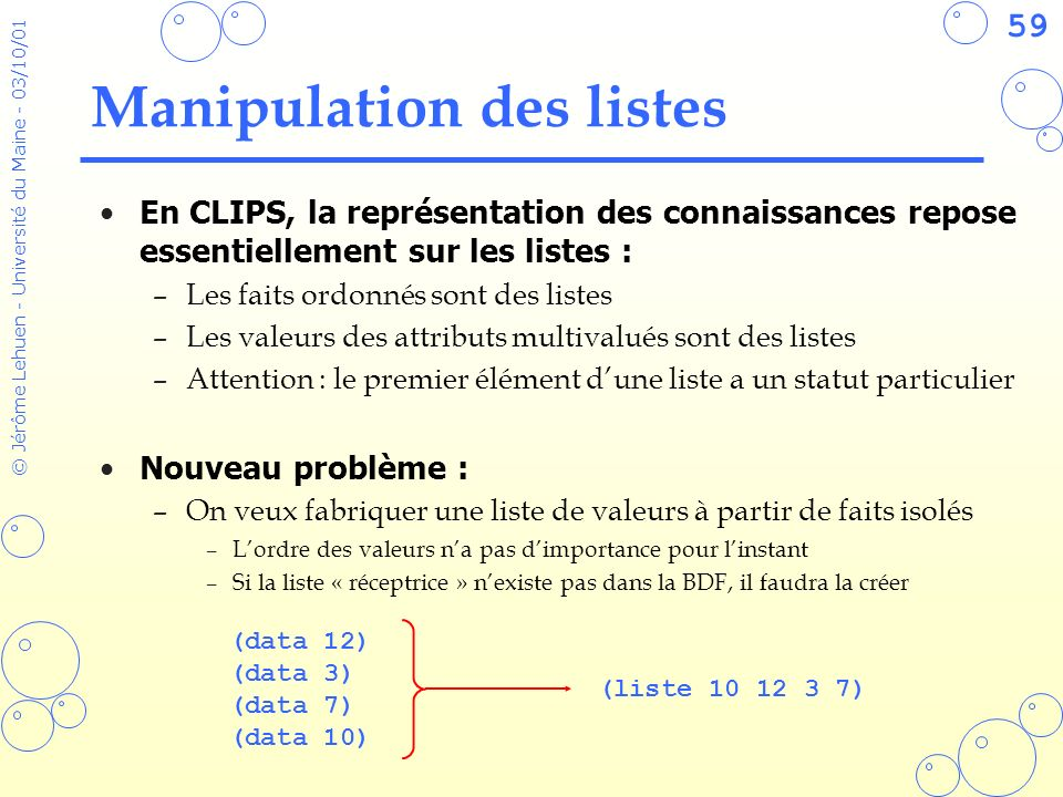Manipulation des listes