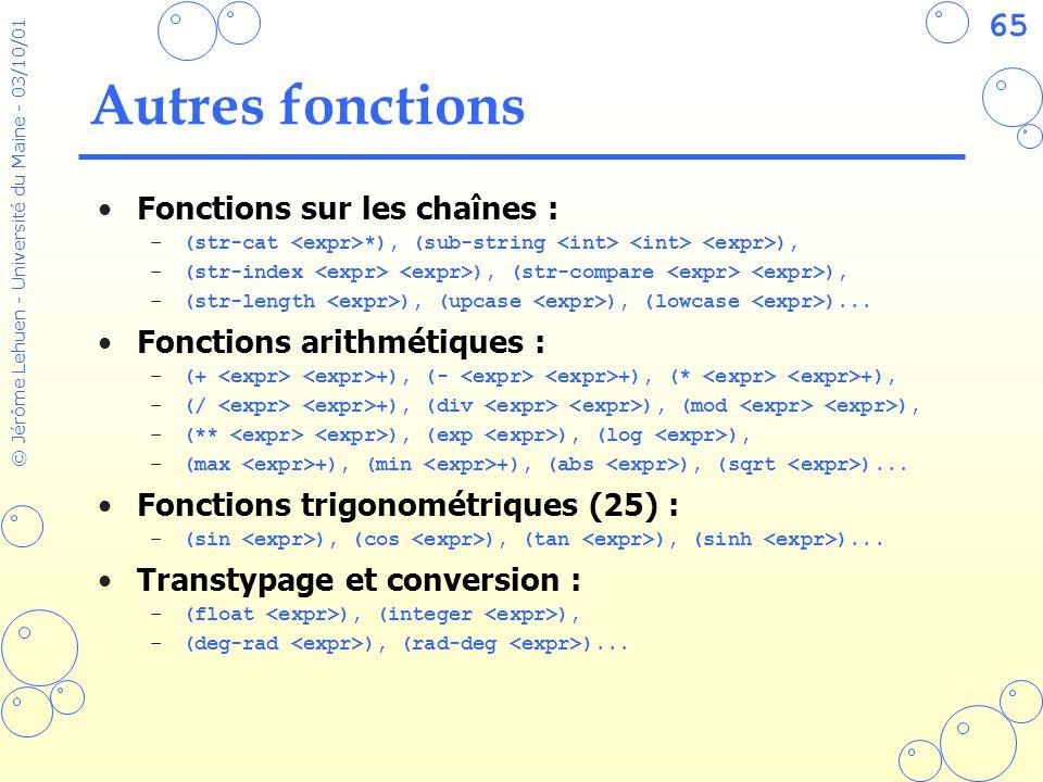 Autres fonctions Fonctions sur les chaînes : Fonctions arithmétiques :