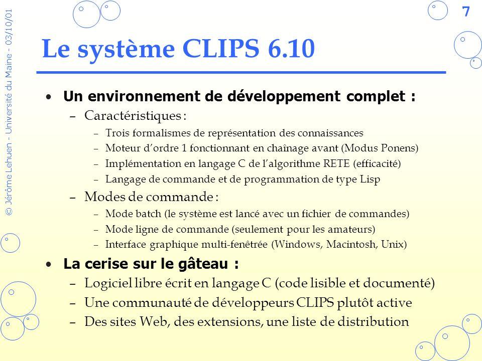 Le système CLIPS 6.10 Un environnement de développement complet :