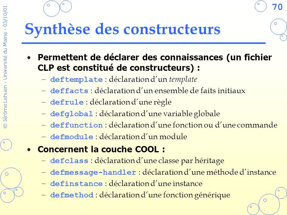 Synthèse des constructeurs