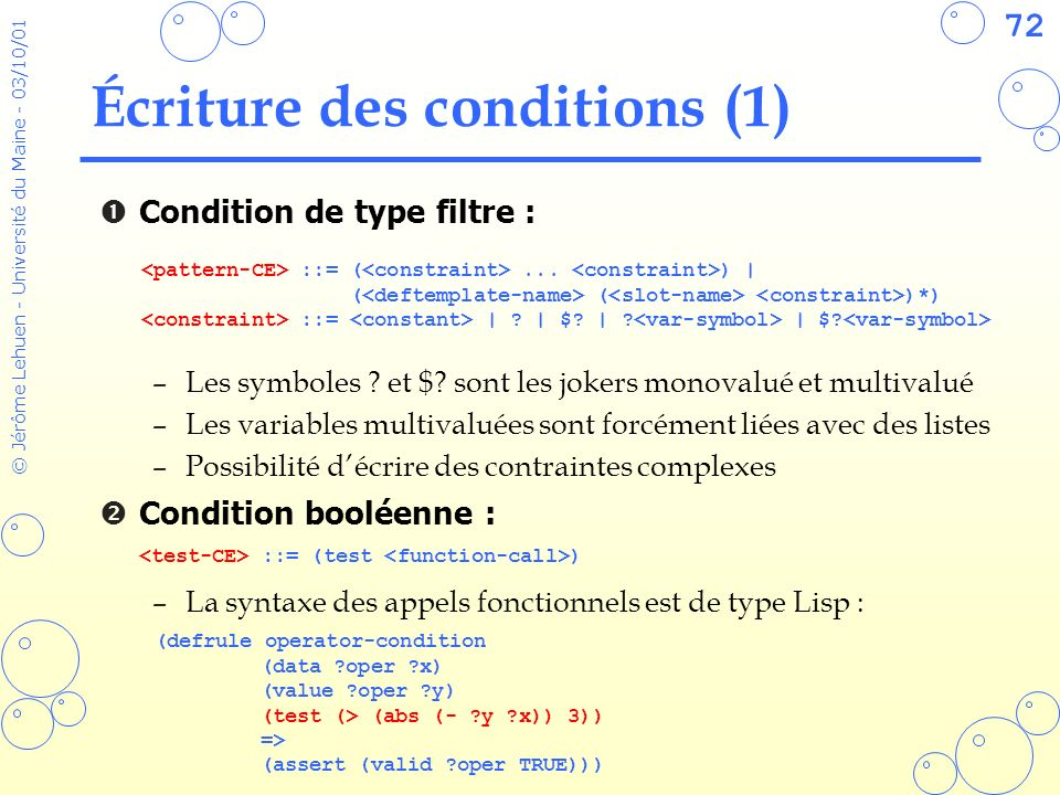 Écriture des conditions (1)
