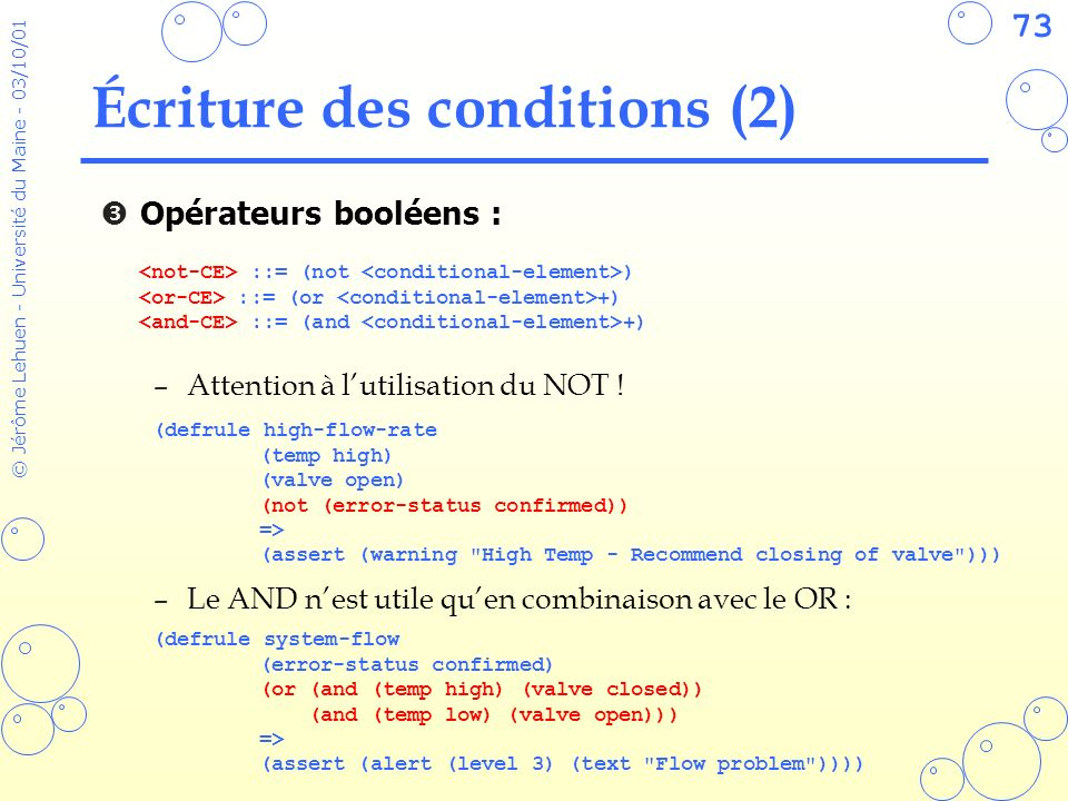 Écriture des conditions (2)