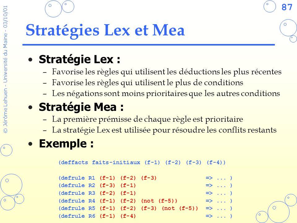 Stratégies Lex et Mea Stratégie Lex : Stratégie Mea : Exemple :