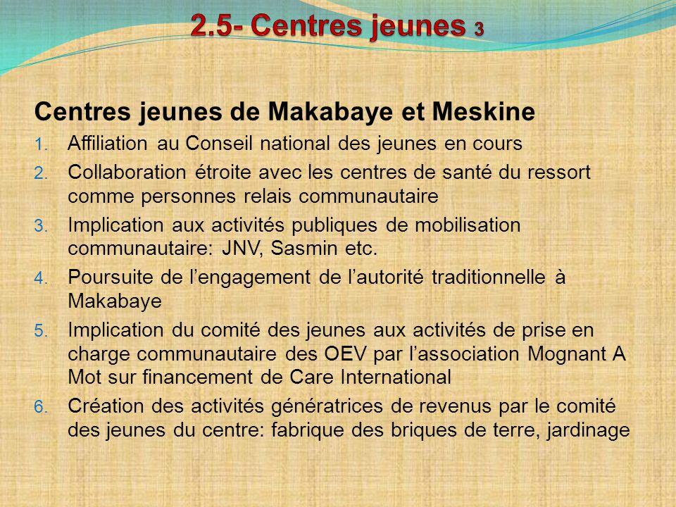 2.5- Centres jeunes 3 Centres jeunes de Makabaye et Meskine