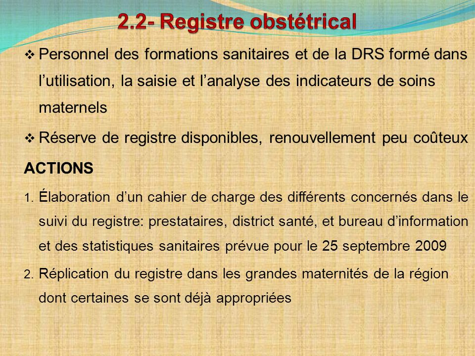 2.2- Registre obstétrical
