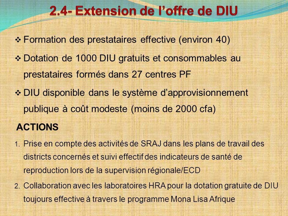 2.4- Extension de l'offre de DIU