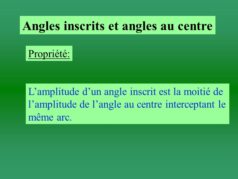 Angles inscrits et angles au centre