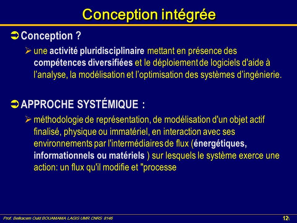 Conception intégrée Conception APPROCHE SYSTÉMIQUE :