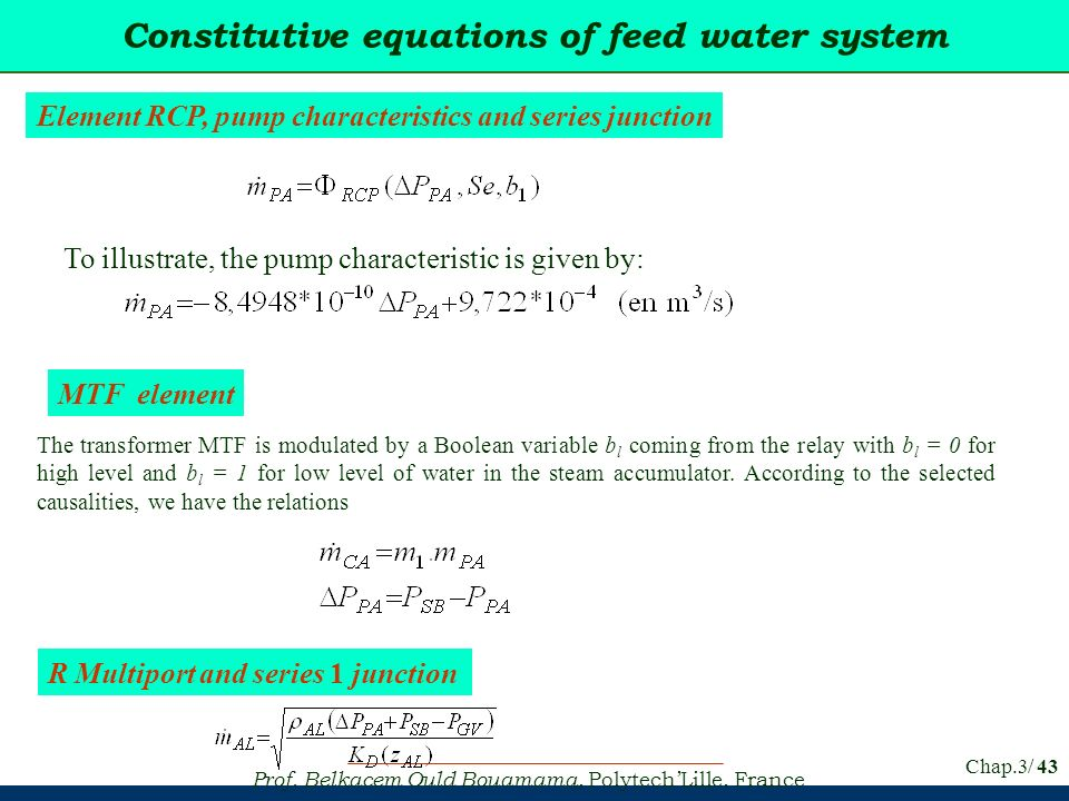Constitutive equations of feed water system