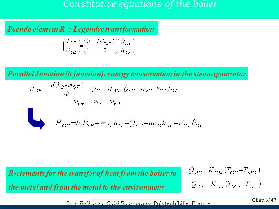 Constitutive equations of the boiler
