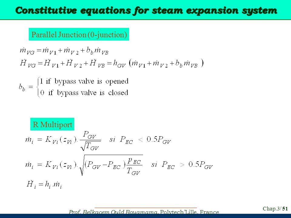 Constitutive equations for steam expansion system