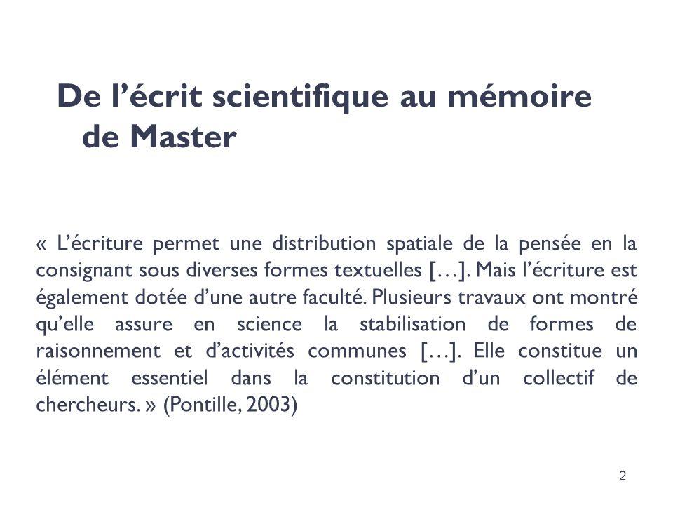 De l'écrit scientifique au mémoire de Master