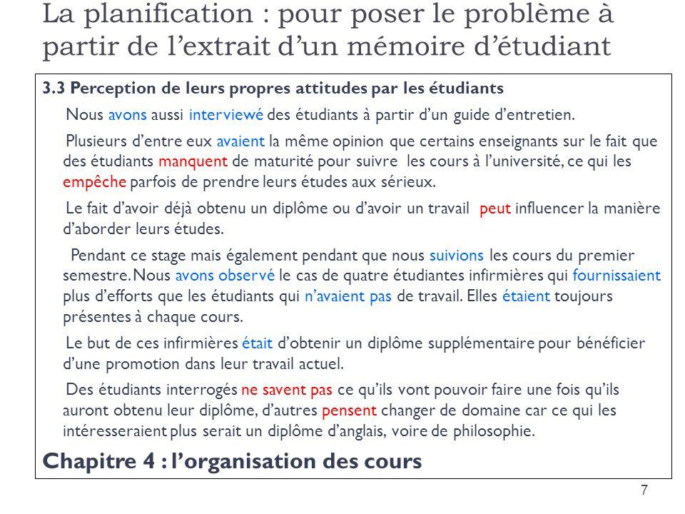 La planification : pour poser le problème à partir de l'extrait d'un mémoire d'étudiant