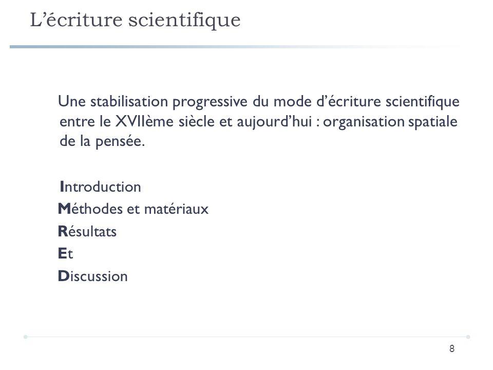 L'écriture scientifique