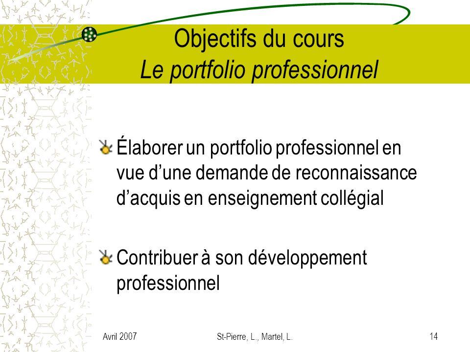 Objectifs du cours Le portfolio professionnel