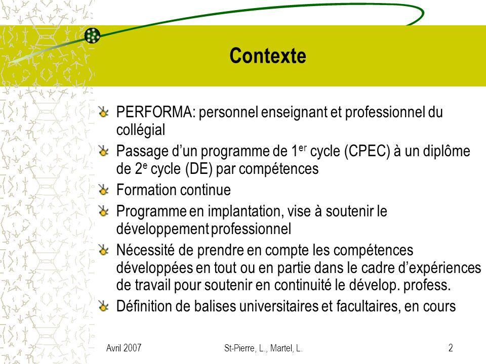 Contexte PERFORMA: personnel enseignant et professionnel du collégial