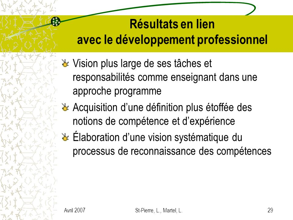 Résultats en lien avec le développement professionnel