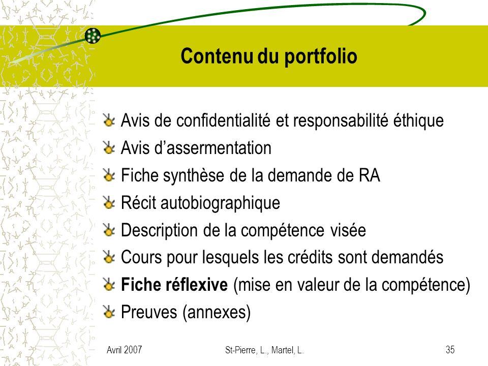Contenu du portfolio Avis de confidentialité et responsabilité éthique