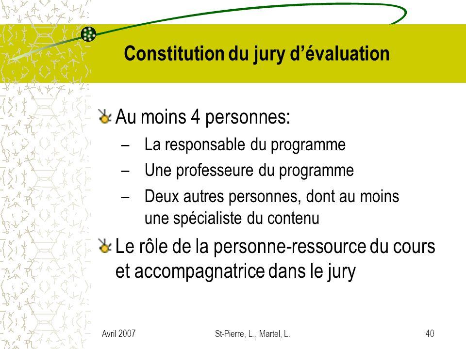 Constitution du jury d'évaluation