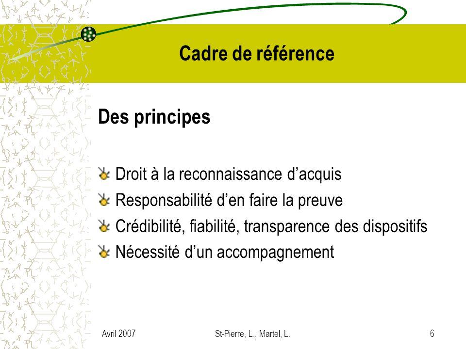 Cadre de référence Des principes Droit à la reconnaissance d'acquis