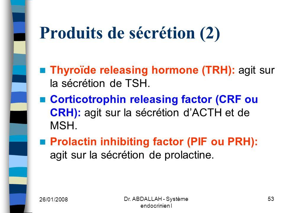 Produits de sécrétion (2)