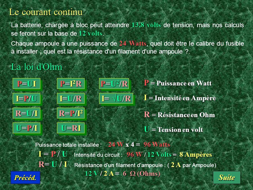 Le courant continu La loi d Ohm P = Puissance en Watt P=UI P=I2R