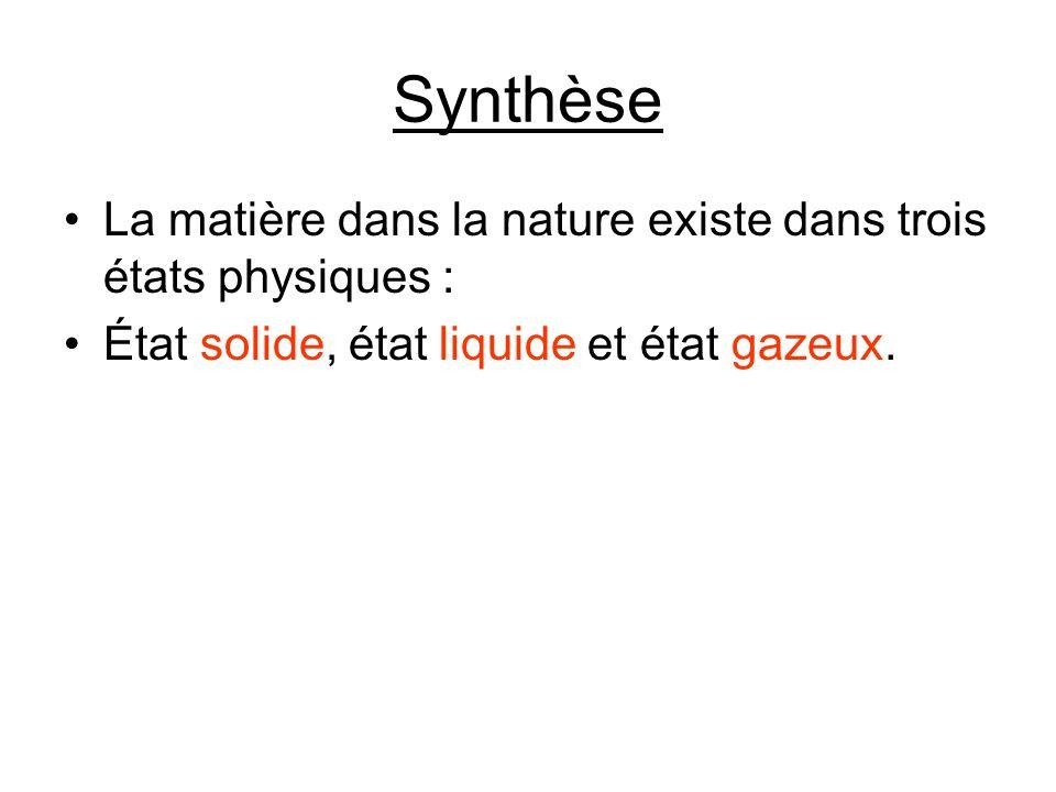 Synthèse La matière dans la nature existe dans trois états physiques :