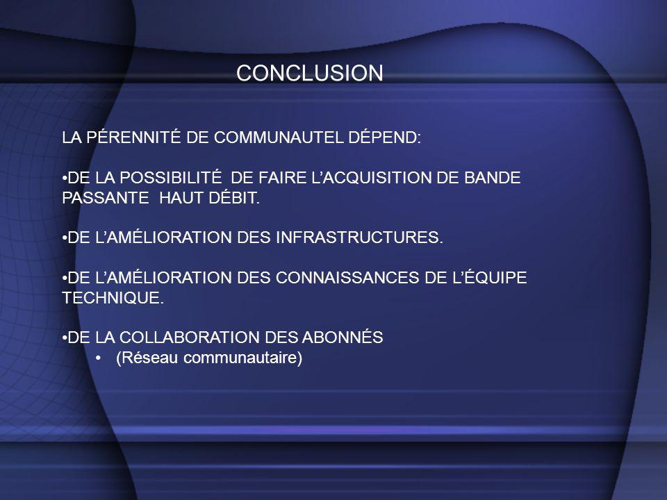 CONCLUSION LA PÉRENNITÉ DE COMMUNAUTEL DÉPEND: