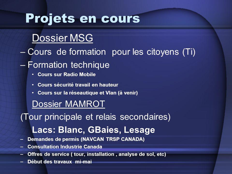 Projets en cours Dossier MSG Cours de formation pour les citoyens (Ti)