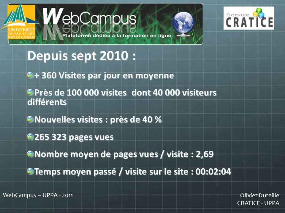 Depuis sept 2010 : + 360 Visites par jour en moyenne
