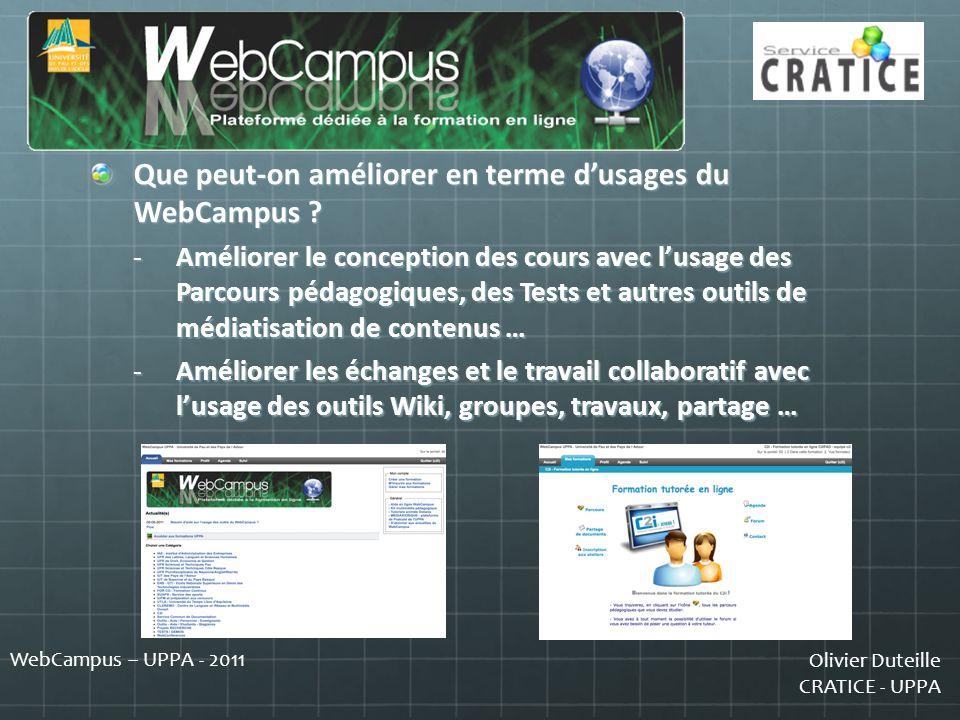 Que peut-on améliorer en terme d'usages du WebCampus