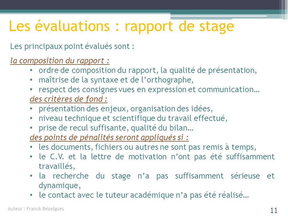 Les évaluations : rapport de stage