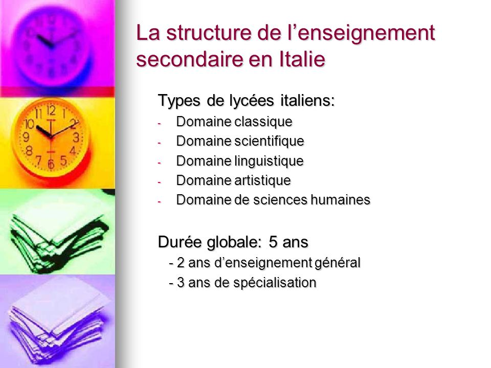 La structure de l'enseignement secondaire en Italie