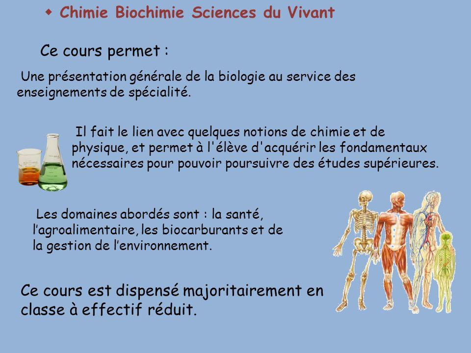  Chimie Biochimie Sciences du Vivant