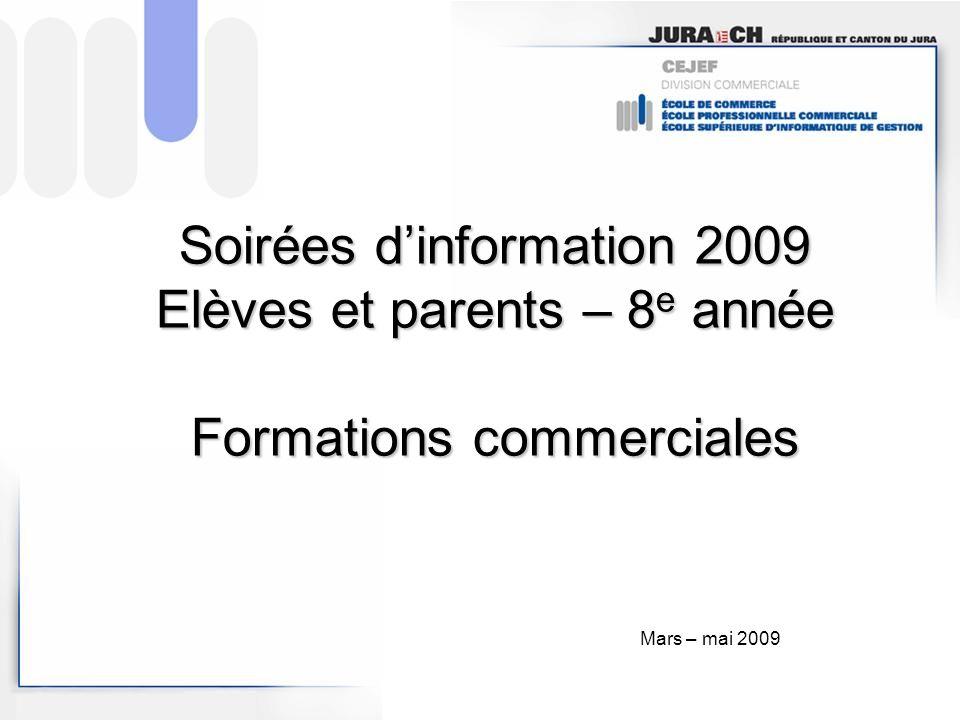 Soirées d'information 2009 Elèves et parents – 8e année Formations commerciales
