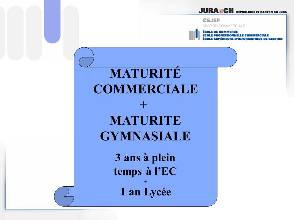 MATURITÉ COMMERCIALE + MATURITE GYMNASIALE