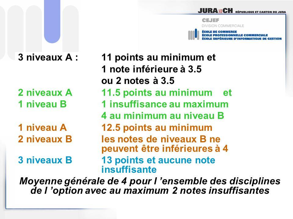 3 niveaux A : 11 points au minimum et