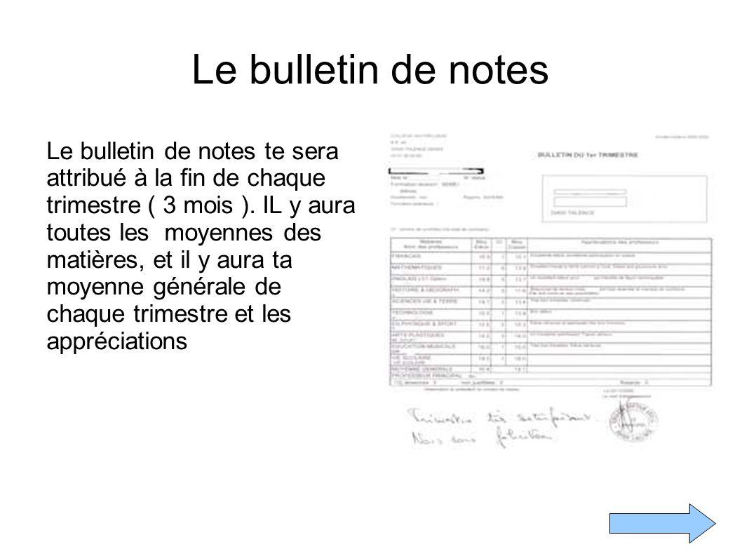 Le bulletin de notes
