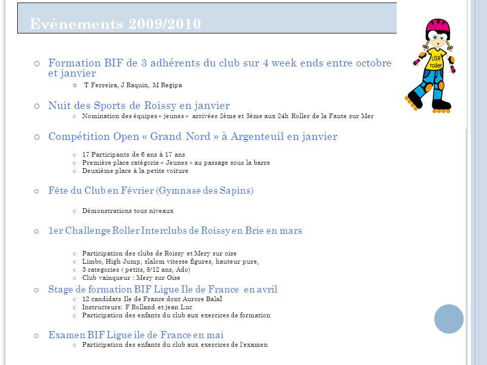 Evènements 2009/2010 Formation BIF de 3 adhérents du club sur 4 week ends entre octobre et janvier.