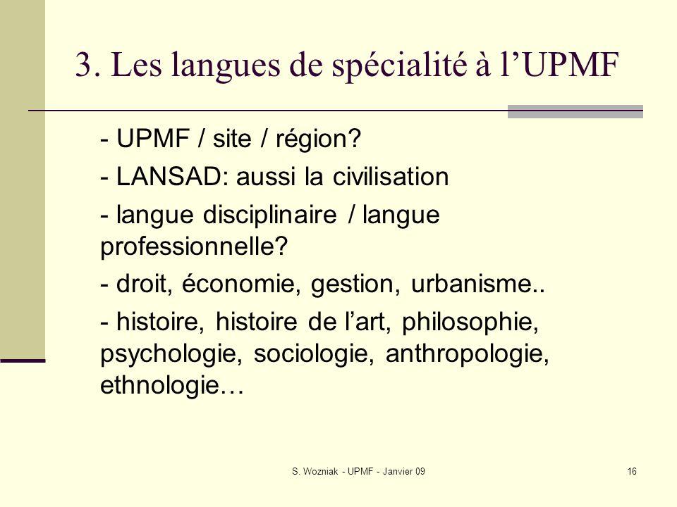 3. Les langues de spécialité à l'UPMF