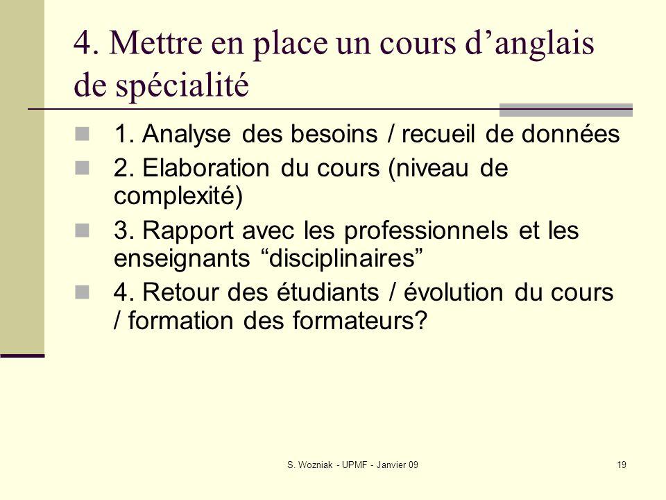 4. Mettre en place un cours d'anglais de spécialité