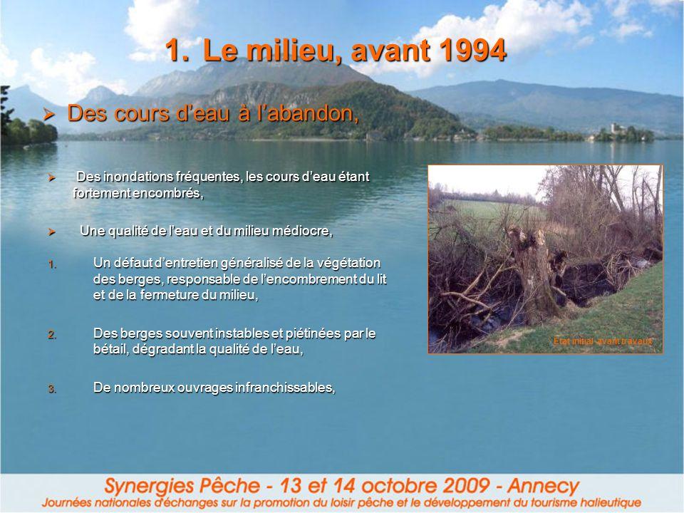 Le milieu, avant 1994 Des cours d'eau à l'abandon,