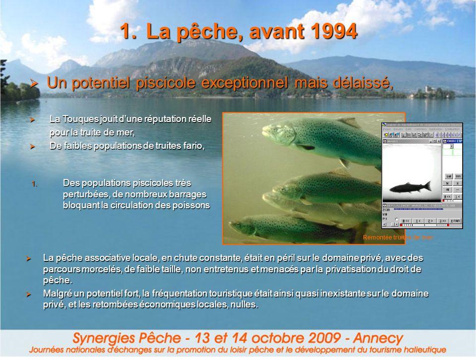 La pêche, avant 1994 Un potentiel piscicole exceptionnel mais délaissé, La Touques jouit d'une réputation réelle.