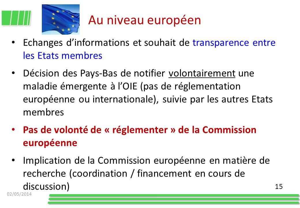 Au niveau européen Echanges d'informations et souhait de transparence entre les Etats membres.