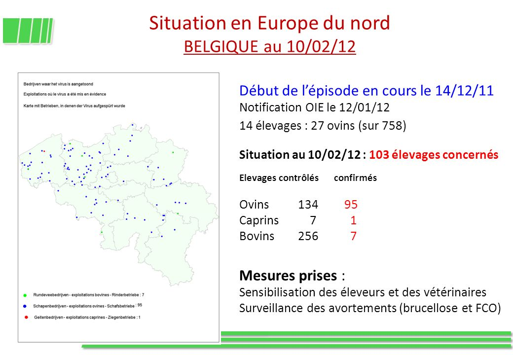Situation en Europe du nord BELGIQUE au 10/02/12