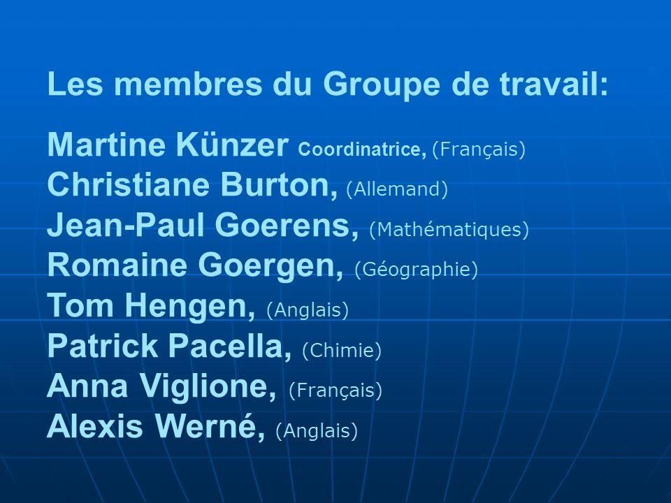 Les membres du Groupe de travail: